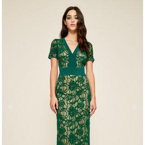 Tadashi Shoji Cloelia Lace Long Gown size 12 Green